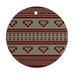 Stitched Seamless Pattern With Silhouette Of Heart Round Ornament (two Sides)