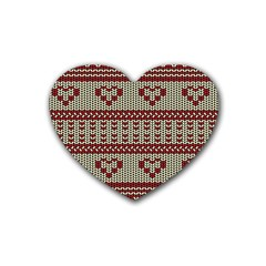 Stitched Seamless Pattern With Silhouette Of Heart Rubber Coaster (heart)