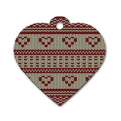 Stitched Seamless Pattern With Silhouette Of Heart Dog Tag Heart (Two Sides)
