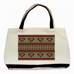 Stitched Seamless Pattern With Silhouette Of Heart Basic Tote Bag (Two Sides)