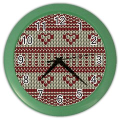 Stitched Seamless Pattern With Silhouette Of Heart Color Wall Clocks