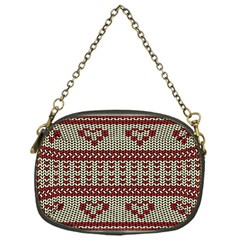 Stitched Seamless Pattern With Silhouette Of Heart Chain Purses (one Side)