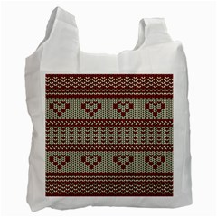 Stitched Seamless Pattern With Silhouette Of Heart Recycle Bag (two Side)