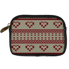 Stitched Seamless Pattern With Silhouette Of Heart Digital Camera Cases