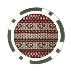 Stitched Seamless Pattern With Silhouette Of Heart Poker Chip Card Guard (10 Pack)