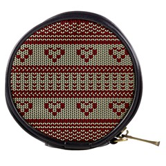 Stitched Seamless Pattern With Silhouette Of Heart Mini Makeup Bags