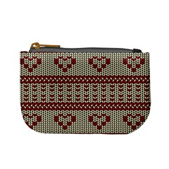 Stitched Seamless Pattern With Silhouette Of Heart Mini Coin Purses