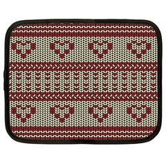 Stitched Seamless Pattern With Silhouette Of Heart Netbook Case (XXL)