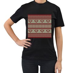 Stitched Seamless Pattern With Silhouette Of Heart Women s T-Shirt (Black)
