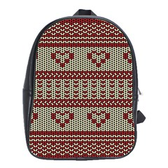 Stitched Seamless Pattern With Silhouette Of Heart School Bags(large)