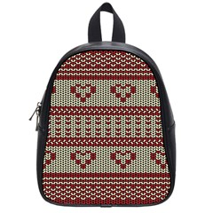 Stitched Seamless Pattern With Silhouette Of Heart School Bags (Small)