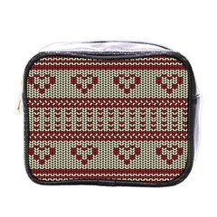 Stitched Seamless Pattern With Silhouette Of Heart Mini Toiletries Bags