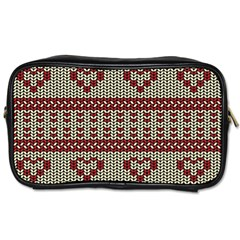 Stitched Seamless Pattern With Silhouette Of Heart Toiletries Bags 2 Side