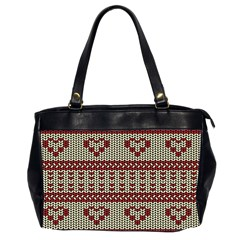 Stitched Seamless Pattern With Silhouette Of Heart Office Handbags (2 Sides)