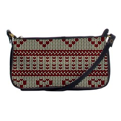 Stitched Seamless Pattern With Silhouette Of Heart Shoulder Clutch Bags