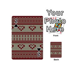 Stitched Seamless Pattern With Silhouette Of Heart Playing Cards 54 (mini)