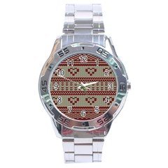 Stitched Seamless Pattern With Silhouette Of Heart Stainless Steel Analogue Watch