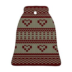 Stitched Seamless Pattern With Silhouette Of Heart Ornament (Bell)