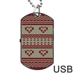 Stitched Seamless Pattern With Silhouette Of Heart Dog Tag Usb Flash (one Side)