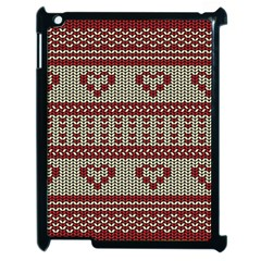 Stitched Seamless Pattern With Silhouette Of Heart Apple Ipad 2 Case (black)