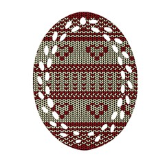Stitched Seamless Pattern With Silhouette Of Heart Oval Filigree Ornament (two Sides)