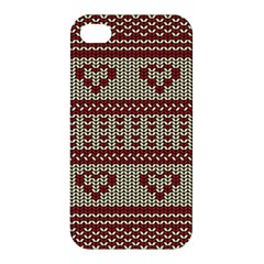 Stitched Seamless Pattern With Silhouette Of Heart Apple iPhone 4/4S Premium Hardshell Case