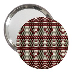 Stitched Seamless Pattern With Silhouette Of Heart 3  Handbag Mirrors