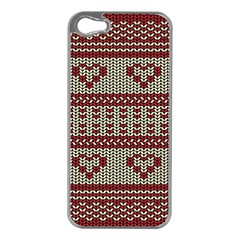 Stitched Seamless Pattern With Silhouette Of Heart Apple iPhone 5 Case (Silver)