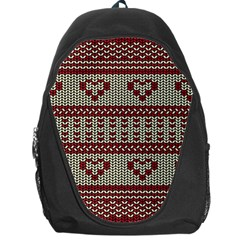 Stitched Seamless Pattern With Silhouette Of Heart Backpack Bag