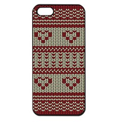 Stitched Seamless Pattern With Silhouette Of Heart Apple Iphone 5 Seamless Case (black)
