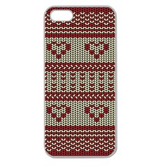Stitched Seamless Pattern With Silhouette Of Heart Apple Seamless iPhone 5 Case (Clear)