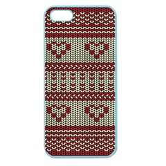 Stitched Seamless Pattern With Silhouette Of Heart Apple Seamless Iphone 5 Case (color)
