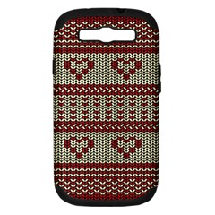 Stitched Seamless Pattern With Silhouette Of Heart Samsung Galaxy S Iii Hardshell Case (pc+silicone)