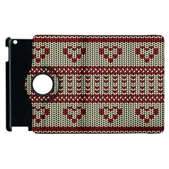 Stitched Seamless Pattern With Silhouette Of Heart Apple Ipad 3/4 Flip 360 Case