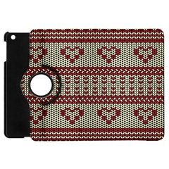Stitched Seamless Pattern With Silhouette Of Heart Apple Ipad Mini Flip 360 Case