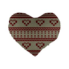 Stitched Seamless Pattern With Silhouette Of Heart Standard 16  Premium Heart Shape Cushions