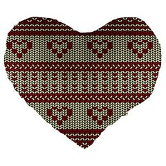 Stitched Seamless Pattern With Silhouette Of Heart Large 19  Premium Heart Shape Cushions