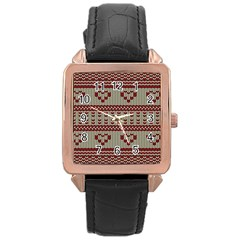 Stitched Seamless Pattern With Silhouette Of Heart Rose Gold Leather Watch