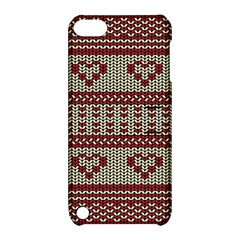 Stitched Seamless Pattern With Silhouette Of Heart Apple Ipod Touch 5 Hardshell Case With Stand