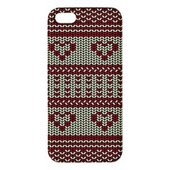 Stitched Seamless Pattern With Silhouette Of Heart Apple Iphone 5 Premium Hardshell Case