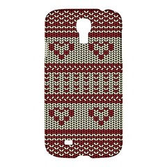 Stitched Seamless Pattern With Silhouette Of Heart Samsung Galaxy S4 I9500/i9505 Hardshell Case