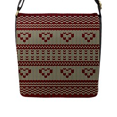 Stitched Seamless Pattern With Silhouette Of Heart Flap Messenger Bag (l)