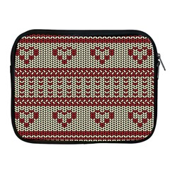 Stitched Seamless Pattern With Silhouette Of Heart Apple iPad 2/3/4 Zipper Cases