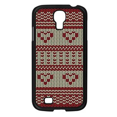 Stitched Seamless Pattern With Silhouette Of Heart Samsung Galaxy S4 I9500/ I9505 Case (black)