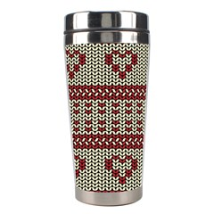 Stitched Seamless Pattern With Silhouette Of Heart Stainless Steel Travel Tumblers