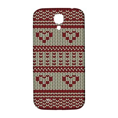 Stitched Seamless Pattern With Silhouette Of Heart Samsung Galaxy S4 I9500/i9505  Hardshell Back Case