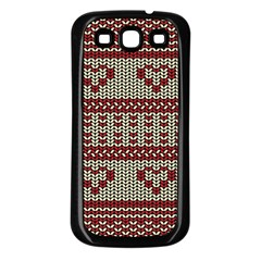 Stitched Seamless Pattern With Silhouette Of Heart Samsung Galaxy S3 Back Case (black)