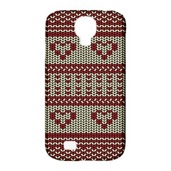 Stitched Seamless Pattern With Silhouette Of Heart Samsung Galaxy S4 Classic Hardshell Case (PC+Silicone)