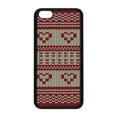 Stitched Seamless Pattern With Silhouette Of Heart Apple Iphone 5c Seamless Case (black)