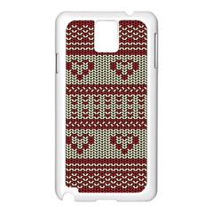 Stitched Seamless Pattern With Silhouette Of Heart Samsung Galaxy Note 3 N9005 Case (White)